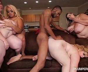 4 Plump Buxomy BBWS Fuck 1 Big Black Cock