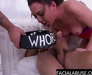 2 big cocks face fuck her to tears