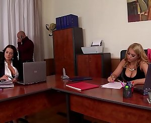 Celebration at office makes manager bang busty honies Patty Michova & Kyra Hot