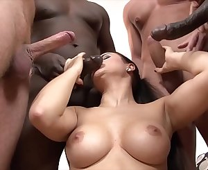 Interracial anal and pussy fuck babe group sex with facial cumshots swallow