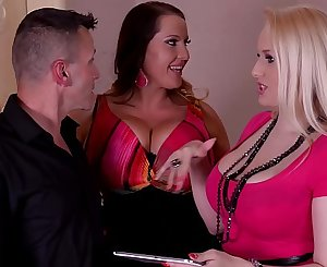 Voluptuous hotties Laura Orsolya & Angel Wicky orgasm during threesome