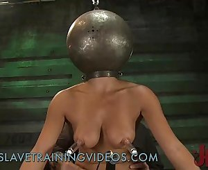 Busty brunette honey has been penalized and pussy fucked by dildo